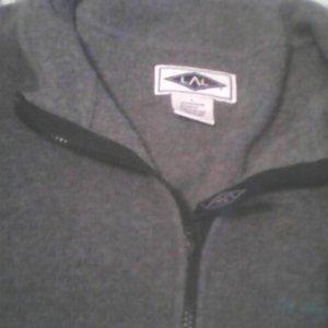 LAL Grey Fleece Pullover Jacket 75% Polyester 25% Rayon Short Neck Zipper Large